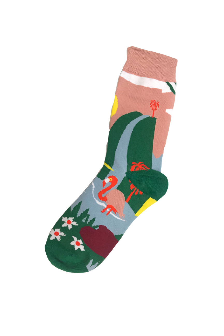 Socks in Green and peach, depicting a waterfall with a flamingo bathing in the lake at the bottom