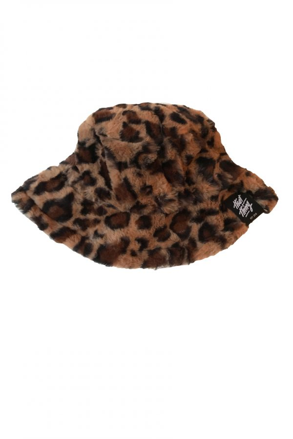 Leopard Print faux fur fluffy Bucket Hat