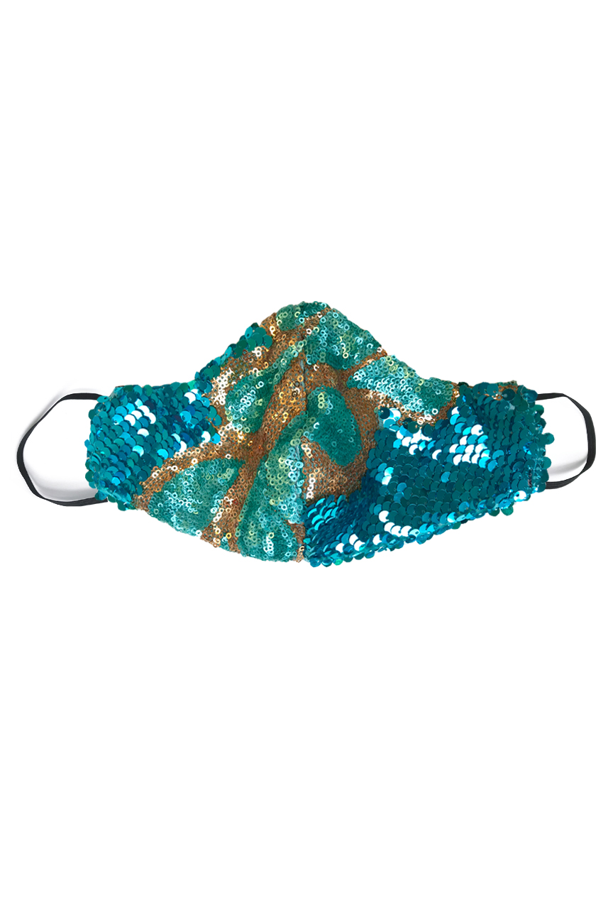 Sequin face mask in aqua blue with gold swirl detail