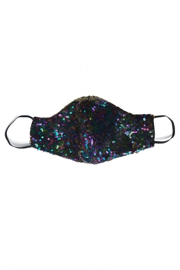 Sequin fabric face mask in almost black material, shimmering with blue, purple, green and a rainbow of colours