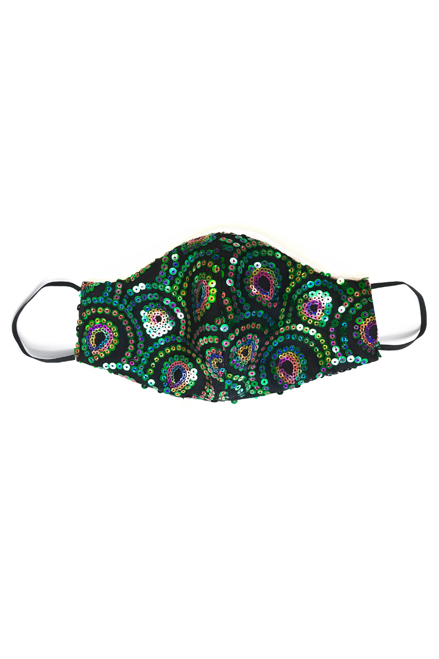 Sequin material face mask in black with a green scalloped design resembling scales, in green and rainbow colours