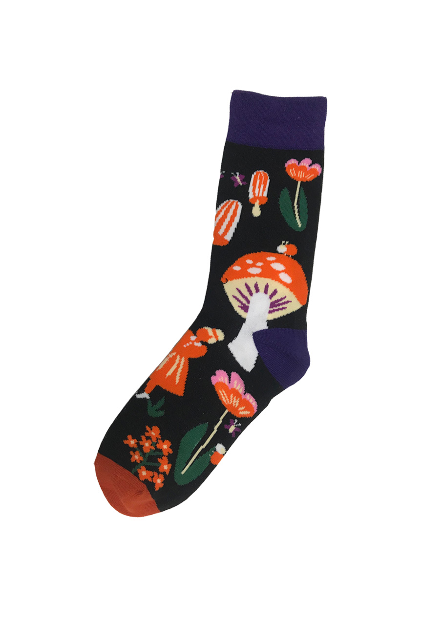Black socks with fly agaric mushroom pattern in orange and purple