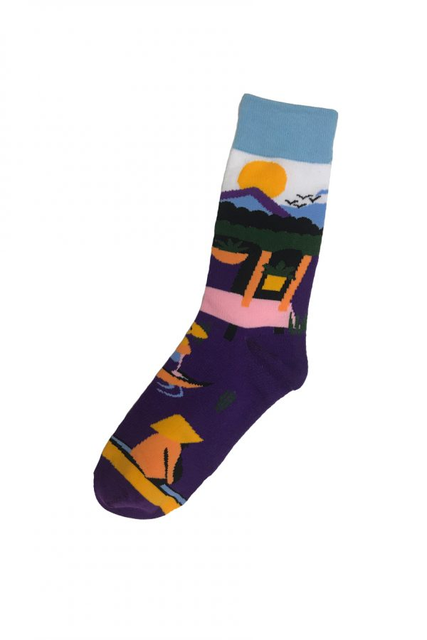 Purple and light blue socks with a rising sun rsing above mountains in a japanese scene
