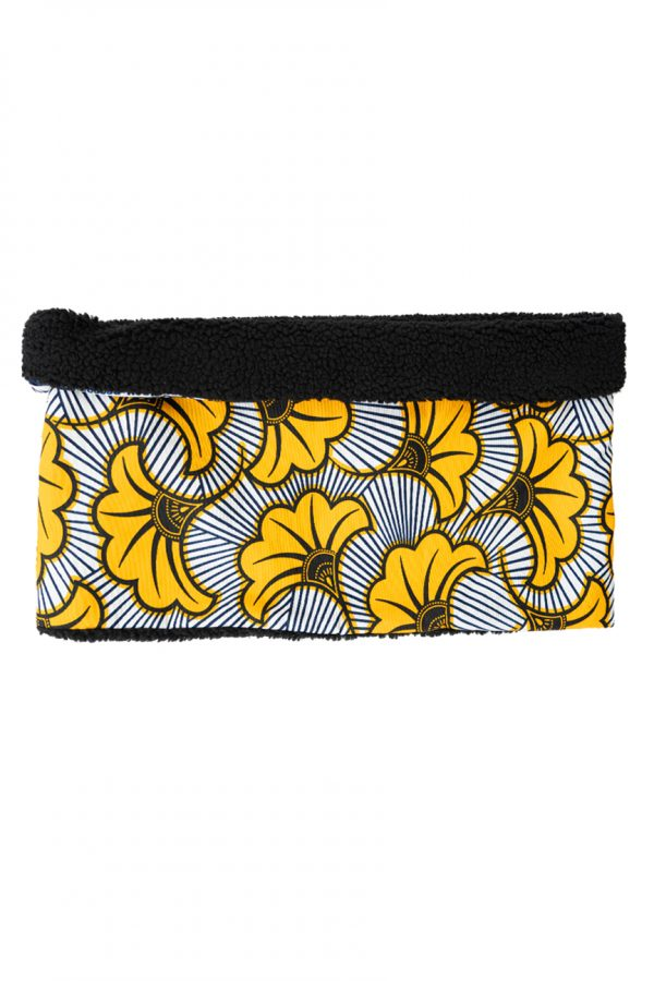 I am R Snood Monochrome with mustard Yellow floral motif fabric on the outside, lined with black soft teddy fleece