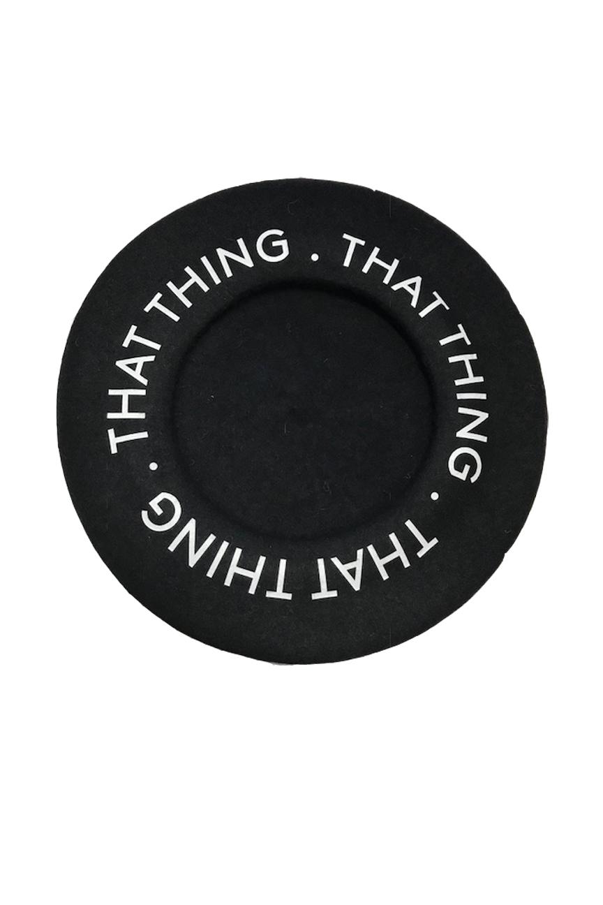 Black beret with circular logo
