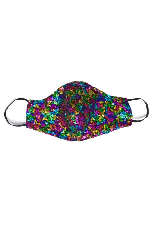 Sequin material face mask in mixed rainbow colours
